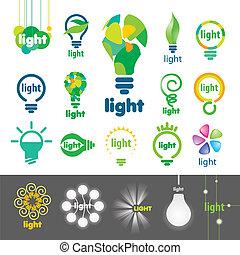più grande, logos, vettore, lampade, collezione