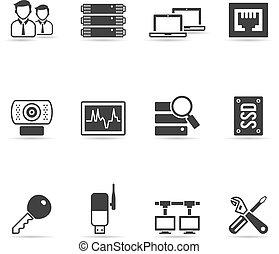 più, rete computer, icone
