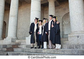 piątka, dyplom, absolwenci, przedstawianie, znowu, ich, dzierżawa