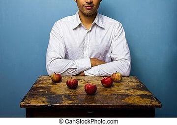 piątka, załatwiony, jabłka, strzała, człowiek