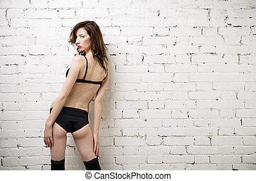 piękna kobieta, ściana, młody, bielizna, przedstawianie, sexy, biała cegła