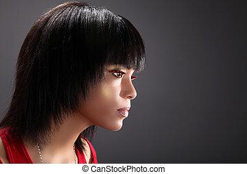 piękna kobieta, afrykanin