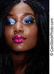 piękna kobieta, afrykanin, twarz