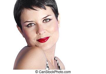 piękna kobieta, aparat fotograficzny, młode przeglądnięcie, brunetka, portret