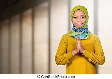 piękna kobieta, asian, muslim, modlący się