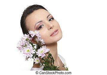 piękna kobieta, barwny, piękno, odizolowany, młody, twarz, białe kwiecie