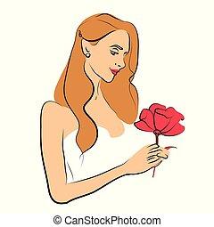 piękna kobieta, biały, odizolowany