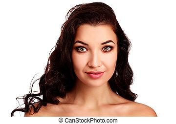 piękna kobieta, brunetka, tło, portret, biały