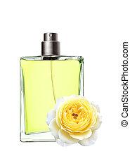 piękna kobieta, butelka, róża, odizolowany, żółty, perfumy, kwiat, tło, biały