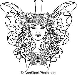 piękna kobieta, butterfly.