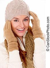 piękna kobieta, chodząc, ciepły, zima ubranie