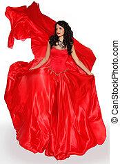 piękna kobieta, chodząc, w, wspaniały, czerwony strój, odizolowany, na białym, tło., studio, photo., fashion.