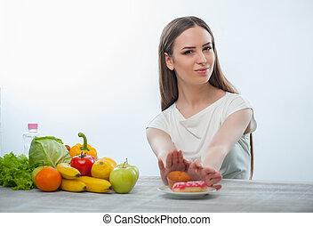 piękna kobieta, chorowite jadło, przetapianie, młody, jeść