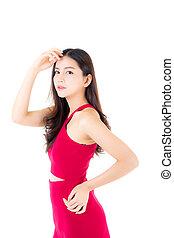 piękna kobieta, concept., młody, odizolowany, niezależnie, tło., asian samica, portret, biały strój, wzór, czerwony