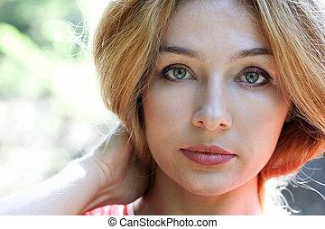 piękna kobieta, czuciowy, twarz