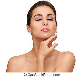 piękna kobieta, czysty, jej, odizolowany, ręka, dotykanie, tło, skóra, biała twarz
