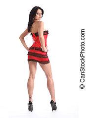 piękna kobieta, długi, sexy, nogi, czerwony, gorset,...