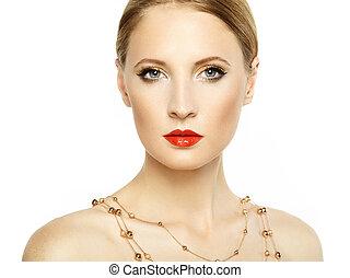 piękna kobieta, face., doskonały, makijaż