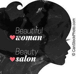 piękna kobieta, fason, silhouette.