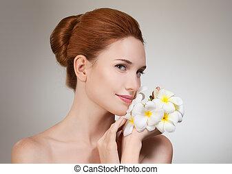 piękna kobieta, flower., piękno, młody, twarz