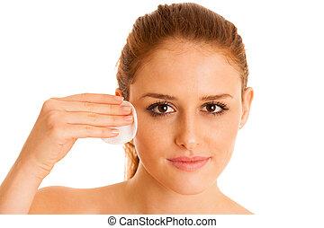 piękna kobieta, fotografia, młody, czyszczenie, skóra, konceptualny, troska
