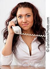 piękna kobieta, handlowy, mówiąc, młody, telefon