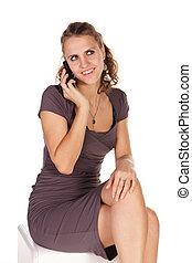 piękna kobieta, handlowy, mówiąc, ruchoma głoska