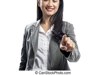 piękna kobieta, handlowy, spoinowanie, coś, asian