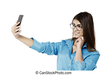 piękna kobieta, handlowy, wpływy, młody, smartphone, selfie