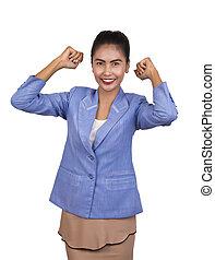 piękna kobieta, happy., handlowy, bardzo, młody, asian