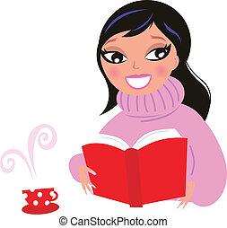 piękna kobieta, izolować, biblioteczna książka, biały, czytanie, czerwony