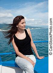 piękna kobieta, jacht, młody, morze