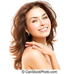 piękna kobieta, jej, na, młody, skin., dotykanie, portret, biały