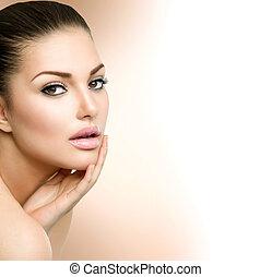 piękna kobieta, jej, piękno, twarz, dotykanie, portrait., zdrój, dziewczyna