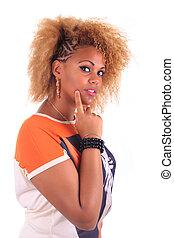 piękna kobieta, kędzierzawy, kudły, afrykanin, uśmiechanie się, afro