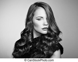piękna kobieta, kędzierzawy, młody, włosy, portret