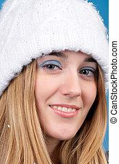 piękna kobieta, kapelusz, zima