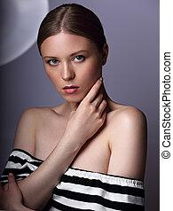 piękna kobieta, kasownik, jej, piękno, makeup., twarz, dotykanie, closeup, model., czysty, skóra