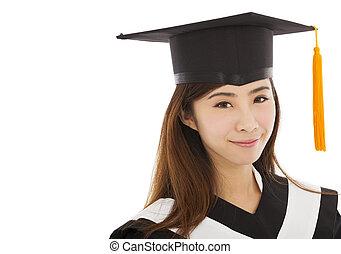 piękna kobieta, kolegium, młody, skala