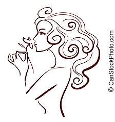 piękna kobieta, kwiat, linearny, ilustracja