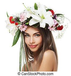 piękna kobieta, kwiat, wieniec