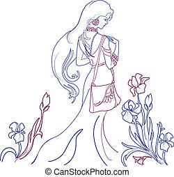 piękna kobieta, lilie