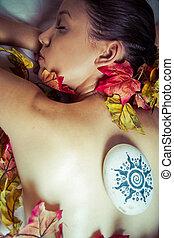 piękna kobieta, młody, środowisko, zdrój, spa.portrait