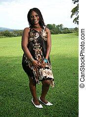 piękna kobieta, młody, afrykanin