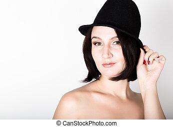 piękna kobieta, młody, closeup, kapelusz, sexy, portret, przedstawianie, czarnoskóry
