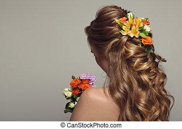 piękna kobieta, młody, do góry, flowers., zamknięcie, portret