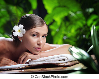 piękna kobieta, młody, environment., portret, zdrój