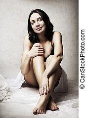 piękna kobieta, młody, fason, portret, sexy