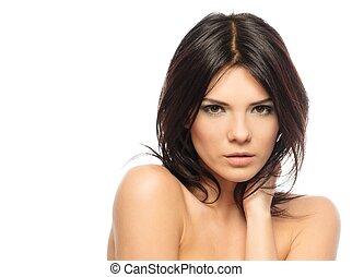 piękna kobieta, młody, odizolowany, brunetka, tło, charakteryzacja, biały