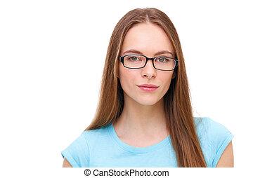 piękna kobieta, młody, odizolowany, white., portret, okulary